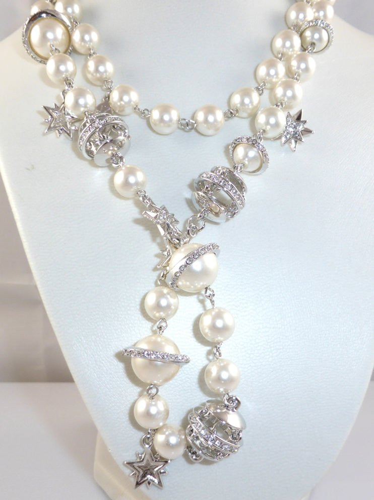 Pearl Chain Necklace & Cufflinks