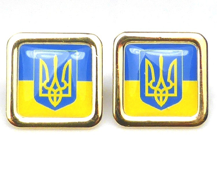 Ukrainian flag gold plated cufflinks