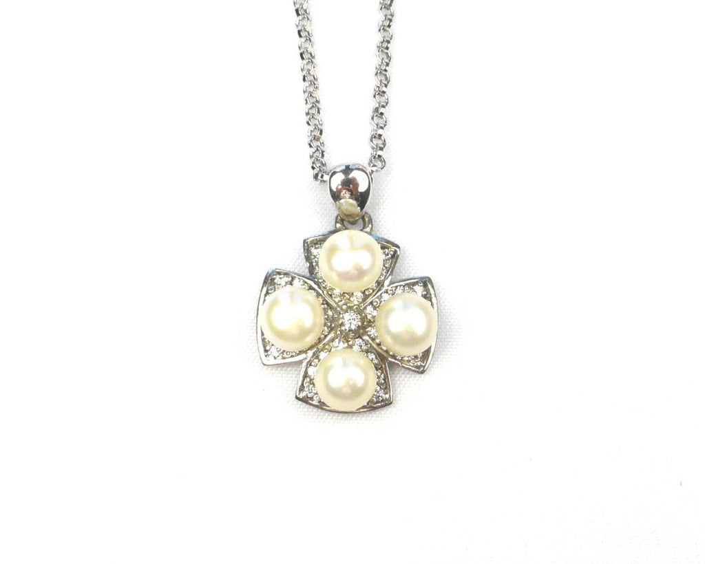 Pearl Cross silver Cufflinks and Necklace