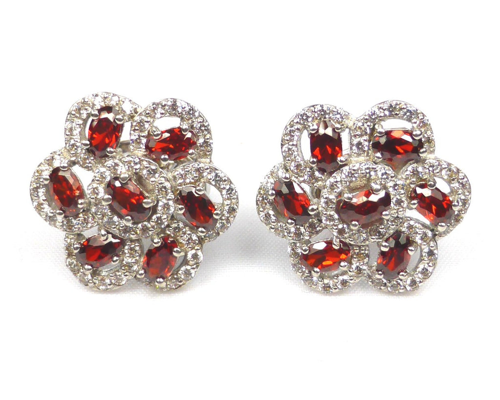 Red Flower Silver Cufflinks and Necklace