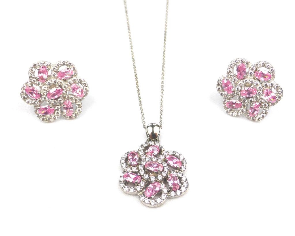Pink Flower Cufflinks and Necklace