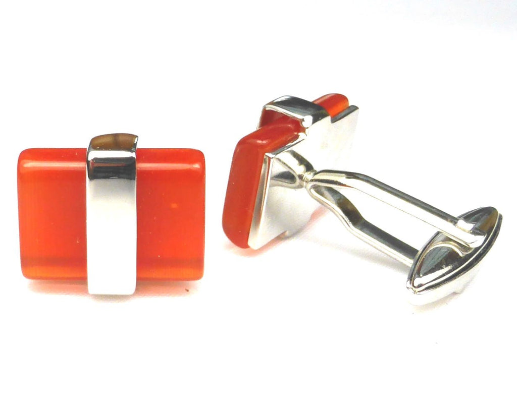 Red Opal cat-eye style Cufflinks