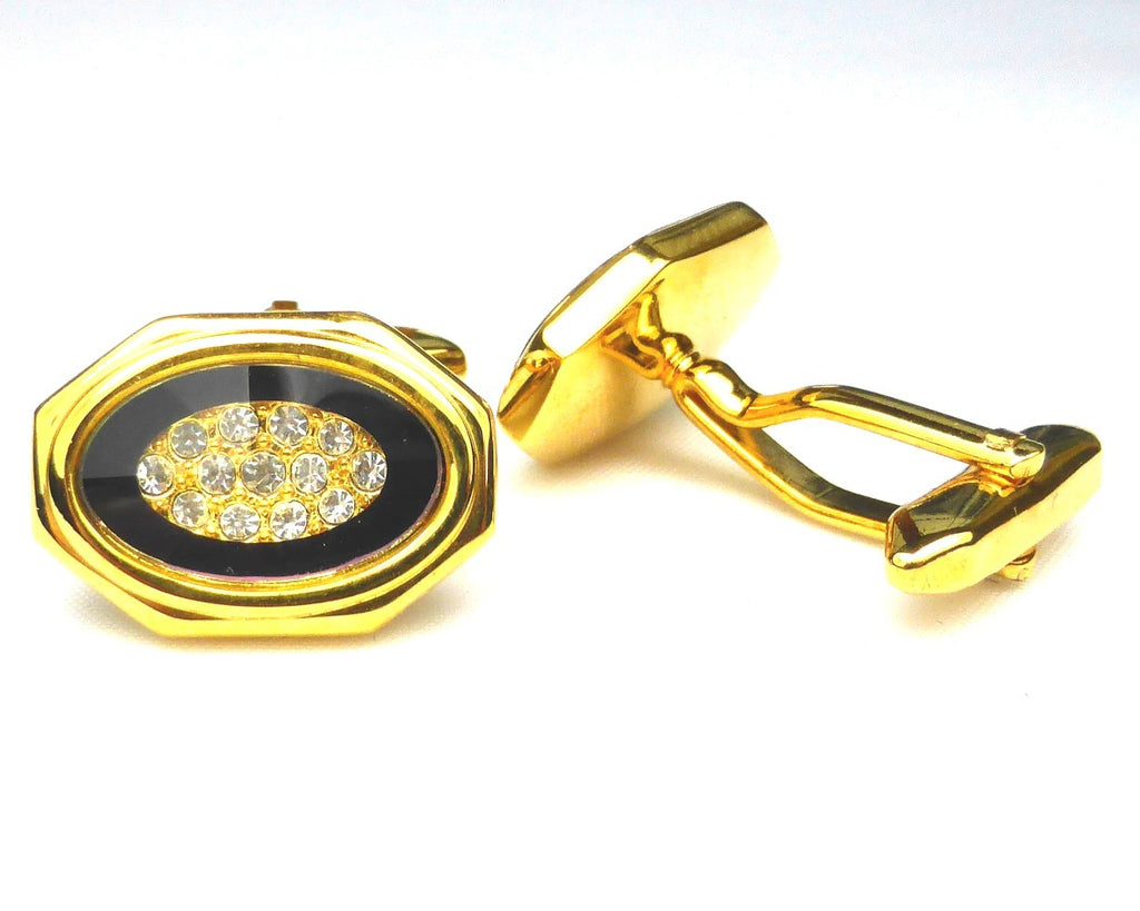 Gold and purple enamel oval cufflinks