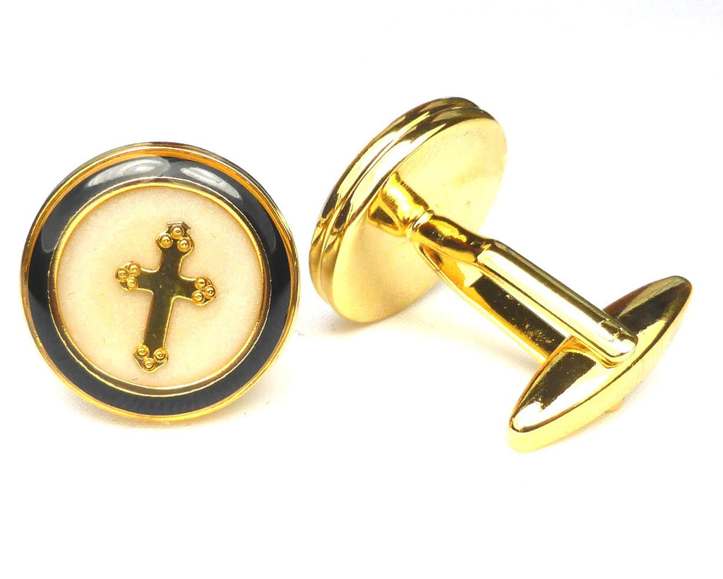 Gold Cross Enamel Cufflinks