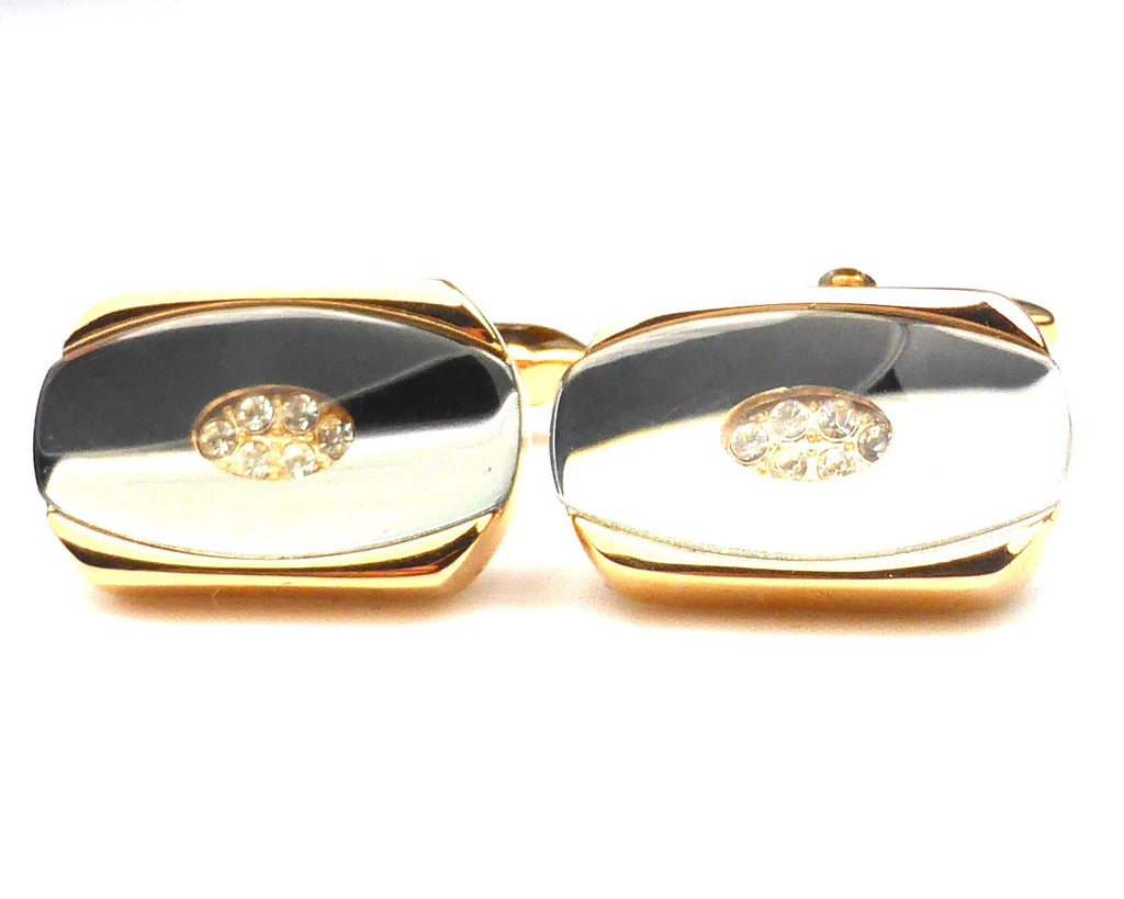 Oval crystal onyx rose gold cufflinks
