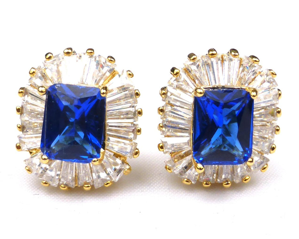 Royal Blue Sapphire Emerald Cut Cufflinks