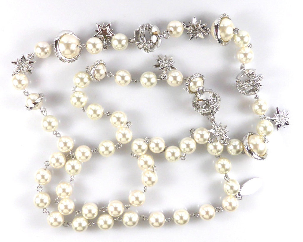 Long Pearl Chain Necklace