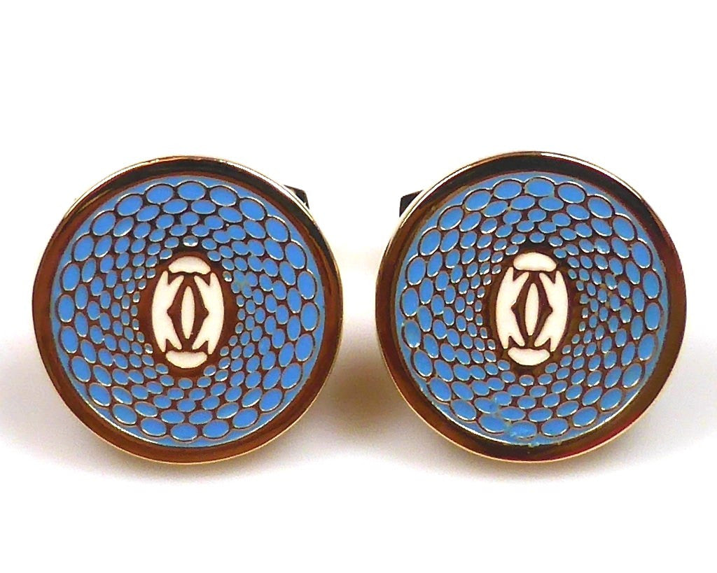 Cartier inspired 18K gold plated blue round cufflinks