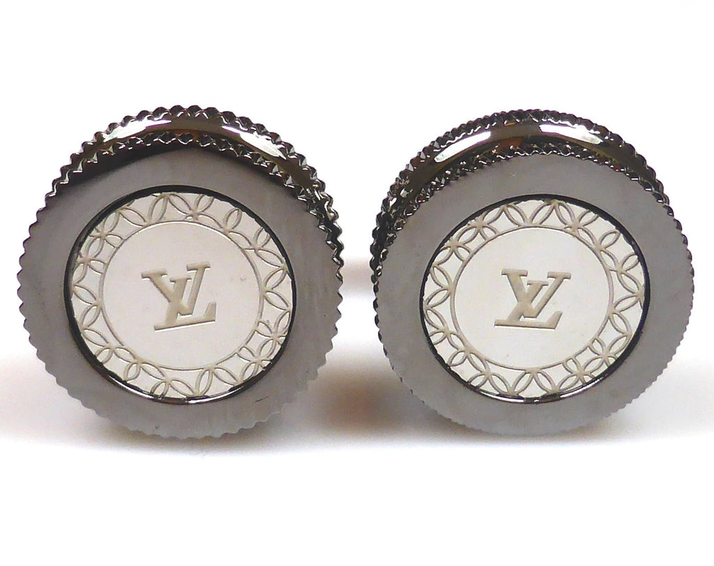 Louis Vuitton inspired black gun plated cufflinks