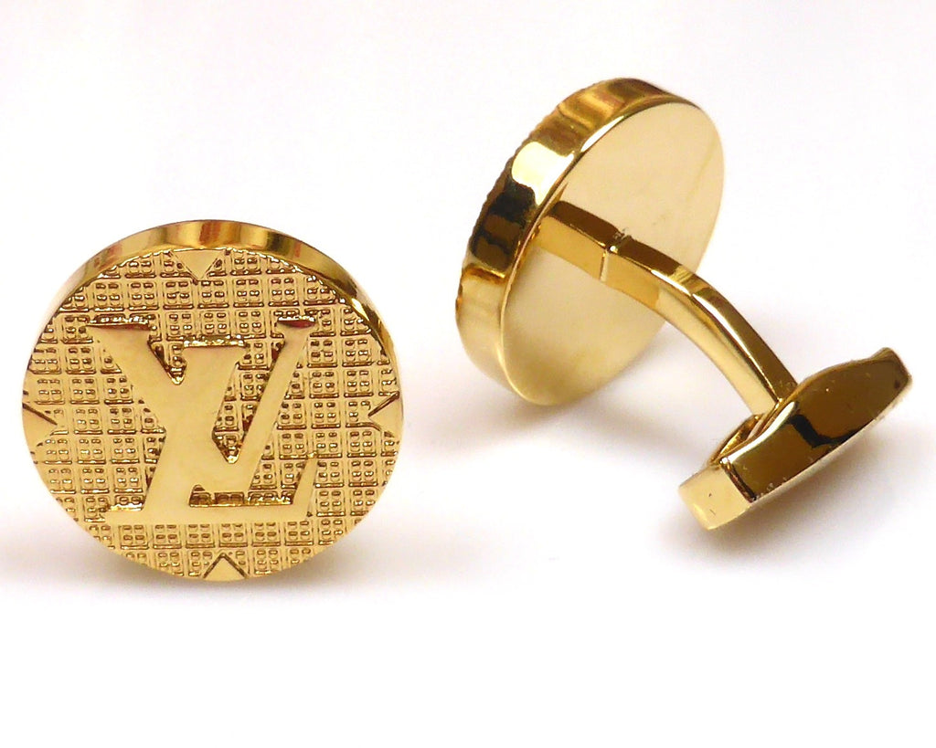 LV inspired 18K gold plated round cufflinks