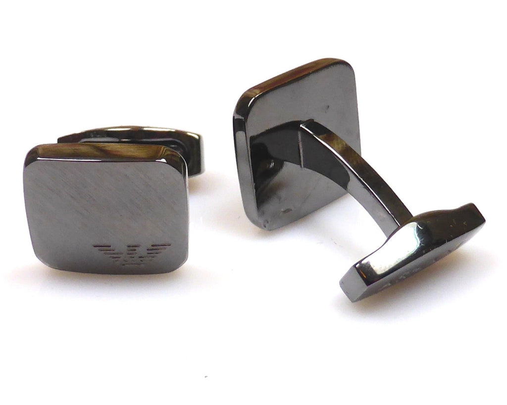 Armani black gun plated square cufflinks