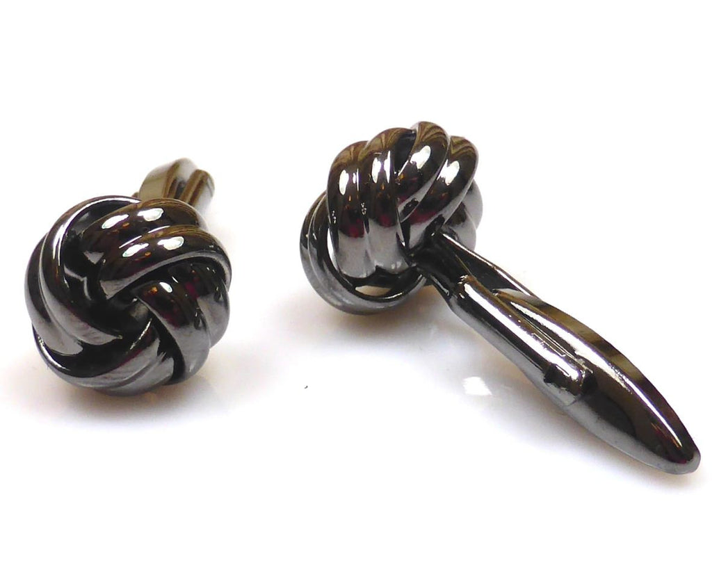Love Knot black gun plated Cufflinks