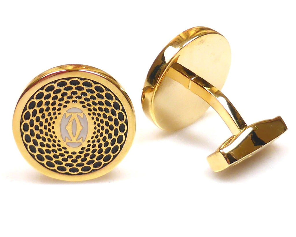 Cartier inspired 18K gold plated black round cufflinks
