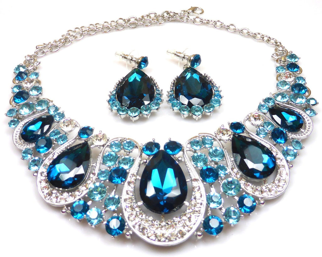 Blue Crystal Necklace & earrings
