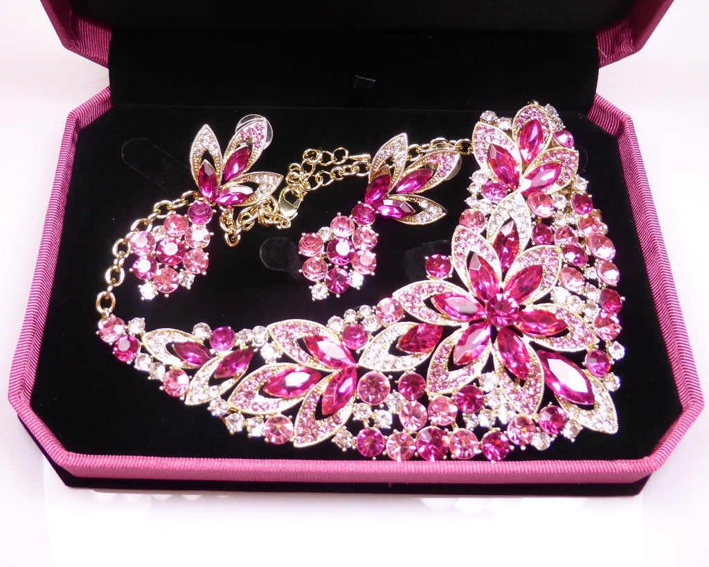 Pink Crystal Rhinestone Necklace & earrings