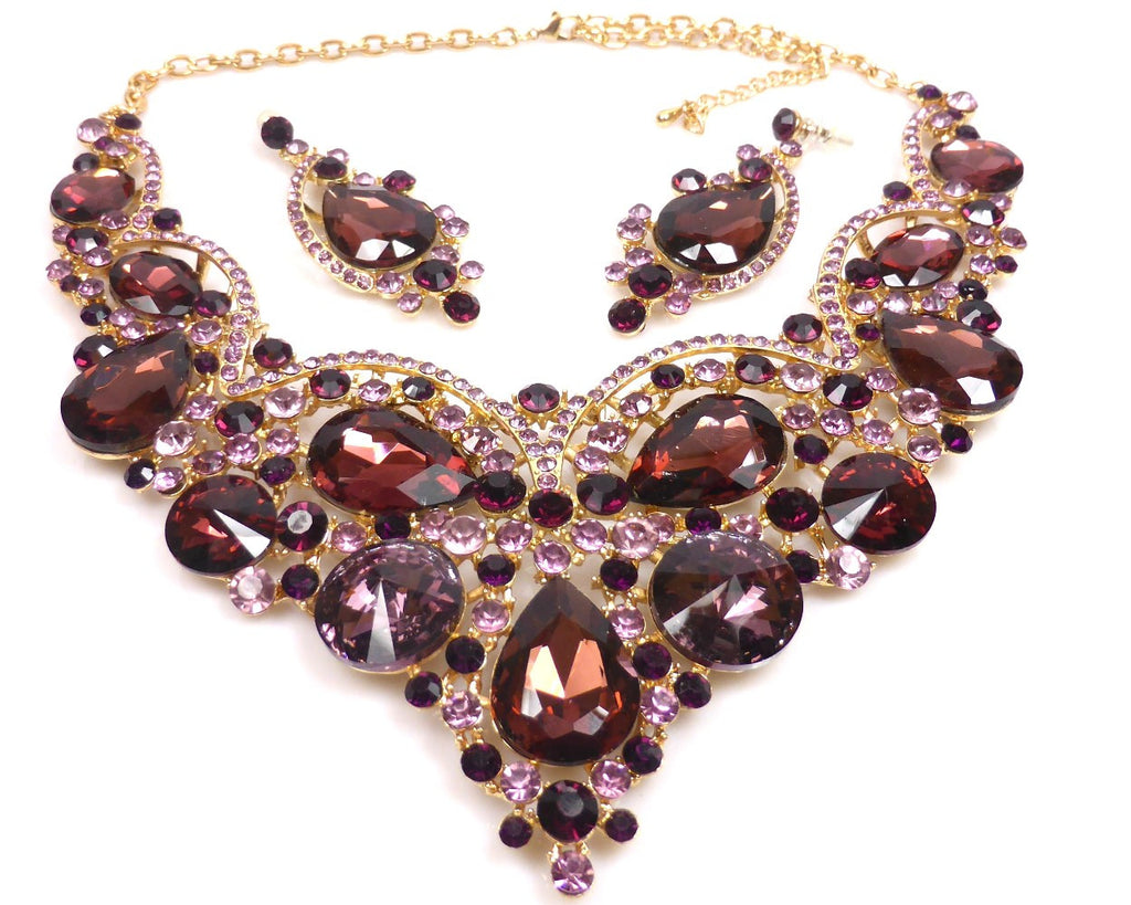 Aubergine Rhinestone Necklace & earrings