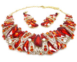 Red Rhinestone Necklace & earrings