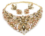 Gold Crystal Rhinestone Necklace & earrings
