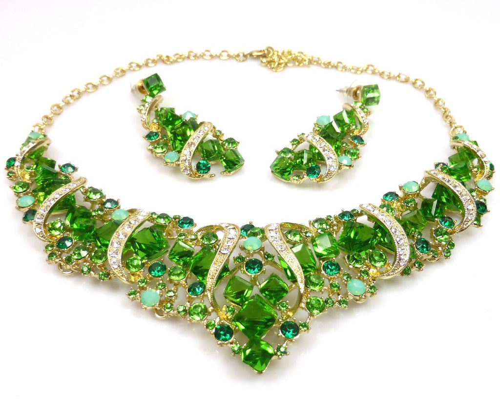 Green Crystal Necklace & earrings