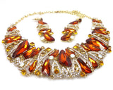 Amber Rhinestone Necklace & earrings