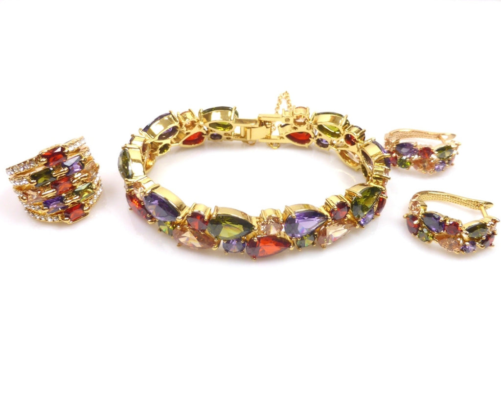 Multicolour Gold Mona Lisa Jewellery Set