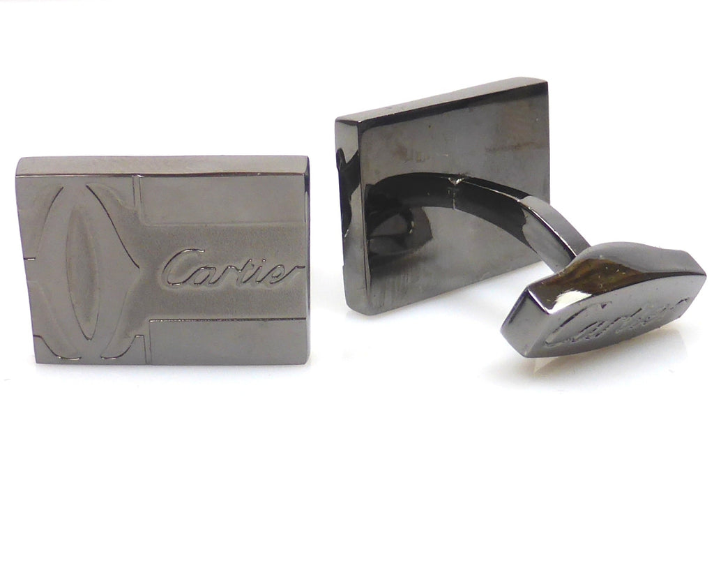 Cartier inspired black gun plated rectangular cufflinks