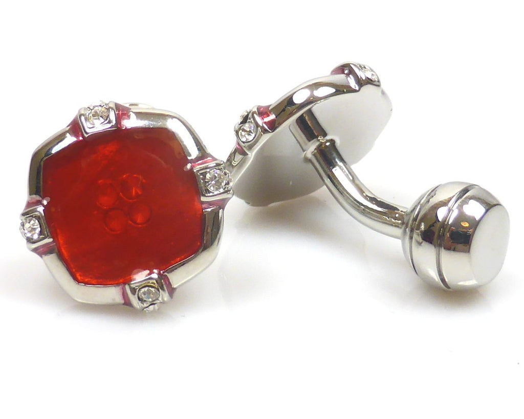 Red Button silver plated cufflinks