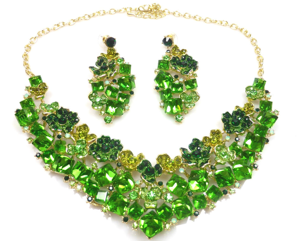 Green Crystal EARRINGS and Necklace
