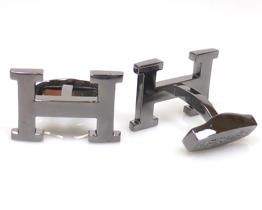Hermes inspired black gun plated cufflinks
