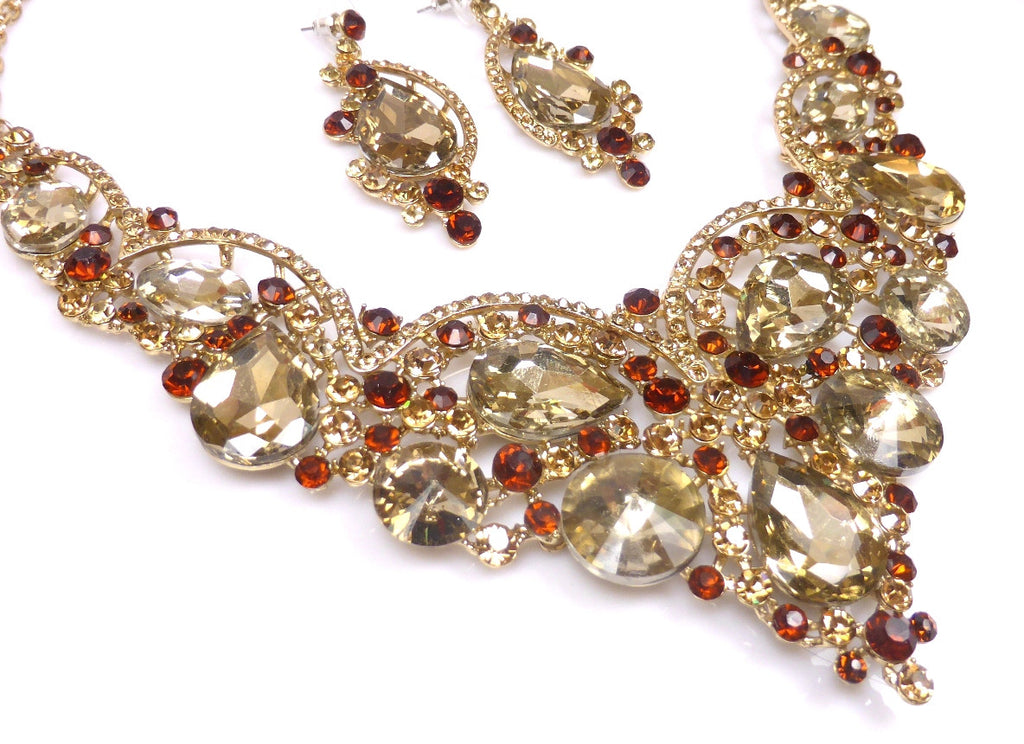 Topaz Rhinestone Necklace & earrings