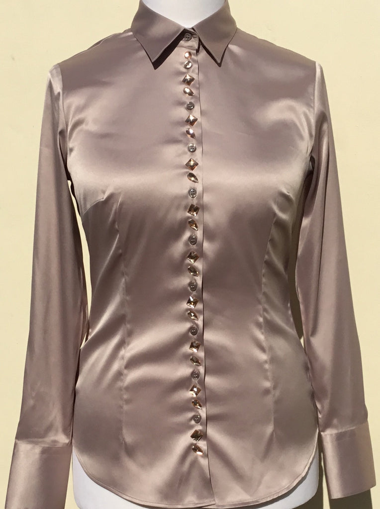 JEWELLERED TAUPE SATIN SHIRT - DOUBLE CUFF