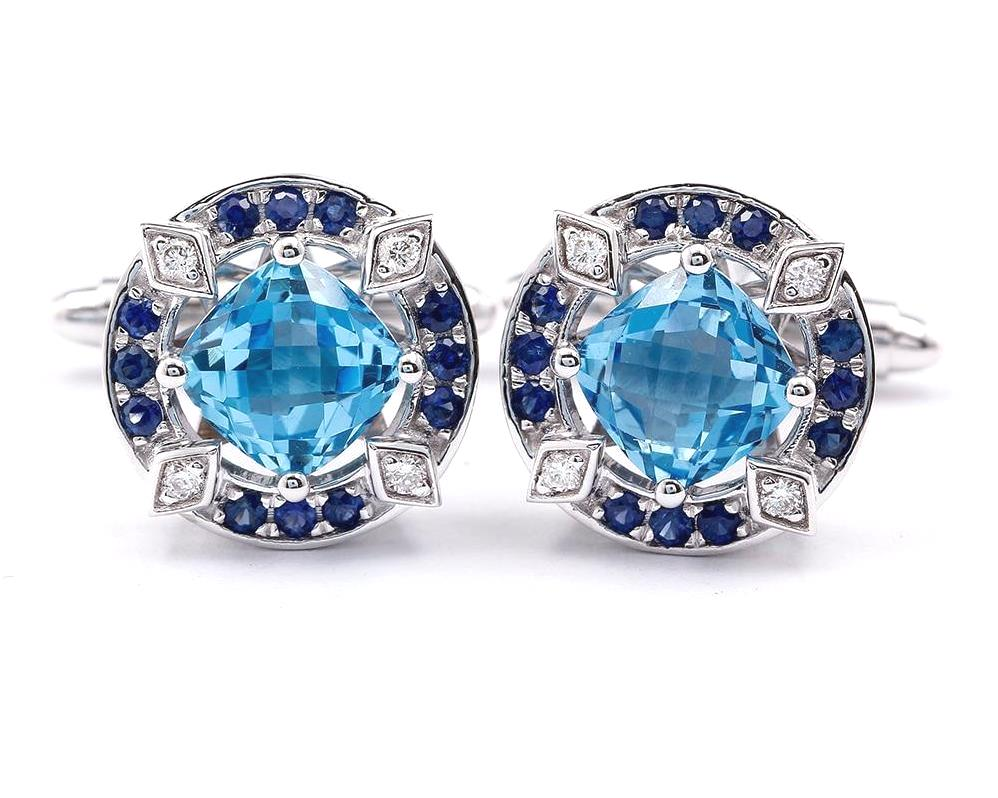 Natural Blue Topaz CuffLinks