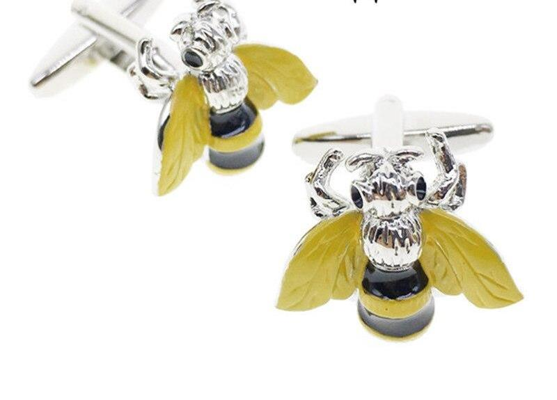 Yellow Bee Silver Cufflinks