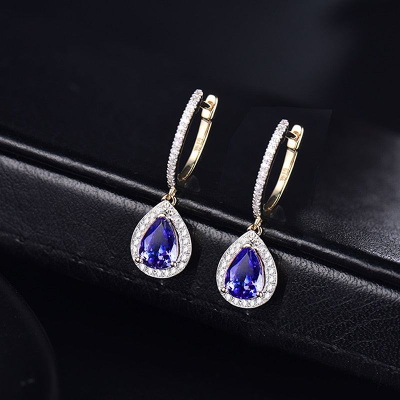 Yellow Gold Diamond Blue Tanzanite Earrings