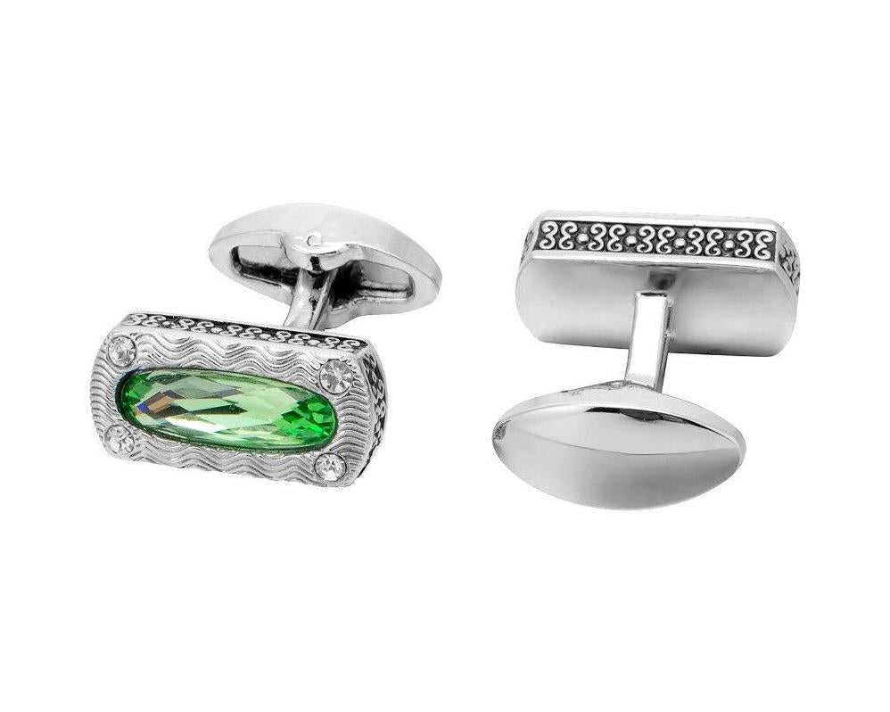 Green Crystal Silver Cufflinks