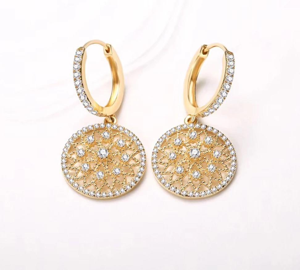 Gold Diamond Drop Earrings