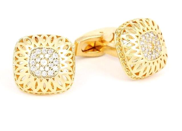 GOLD ZIRCONS LUXURY CUFFLINKS