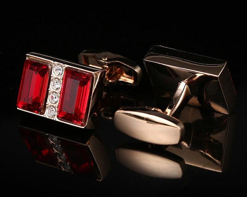 RED CRYSTAL CUFFLINKS
