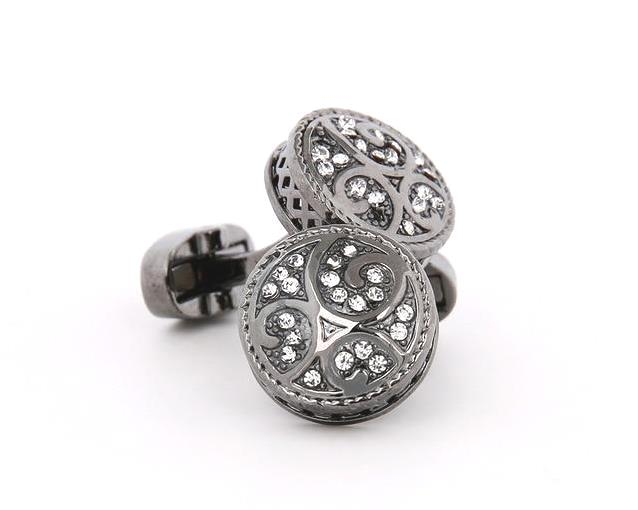 ROUND CRYSTAL CUFFLINKS