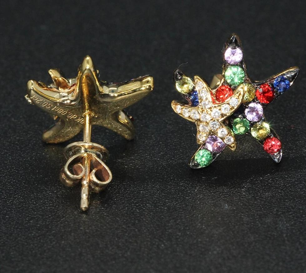 Multi Sapphire Diamond Starfish Earrings