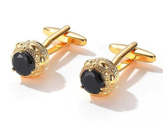 GOLD BLACK STONE CUFFLINKS