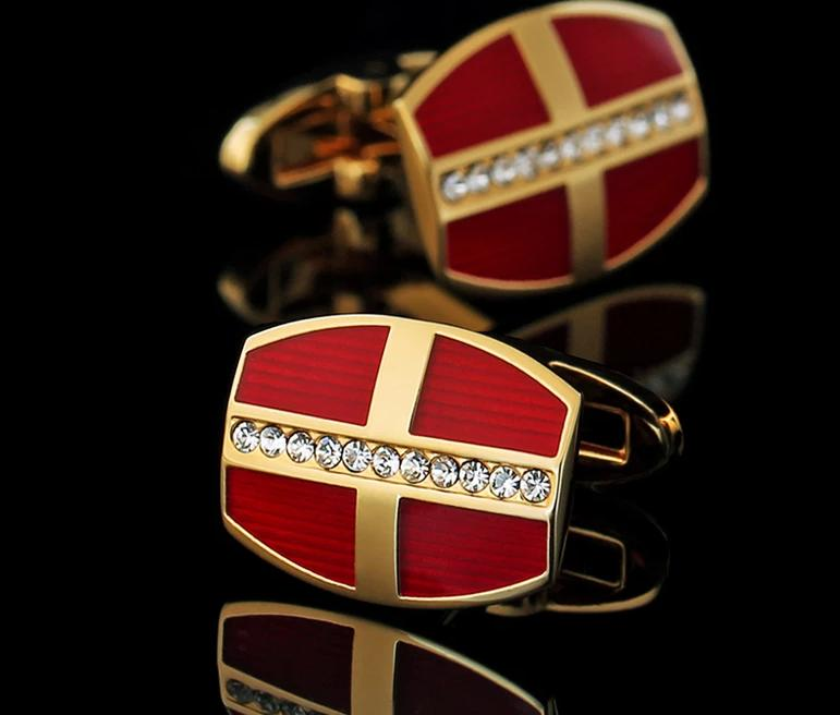 Red Crystal Gold Cufflinks