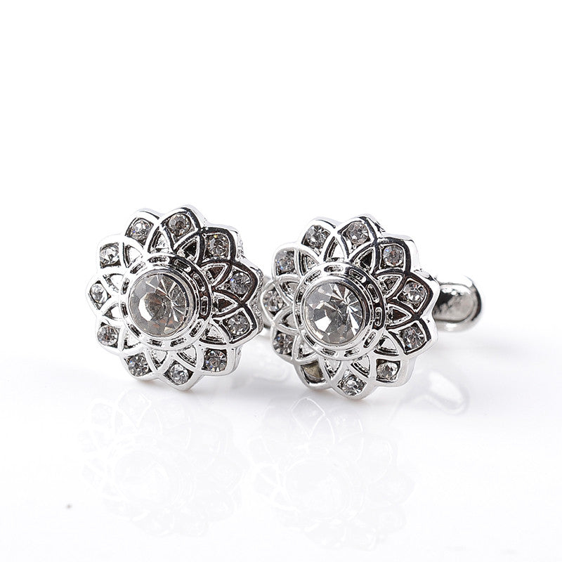 Vintage Flower Shaped Crystal Cufflinks
