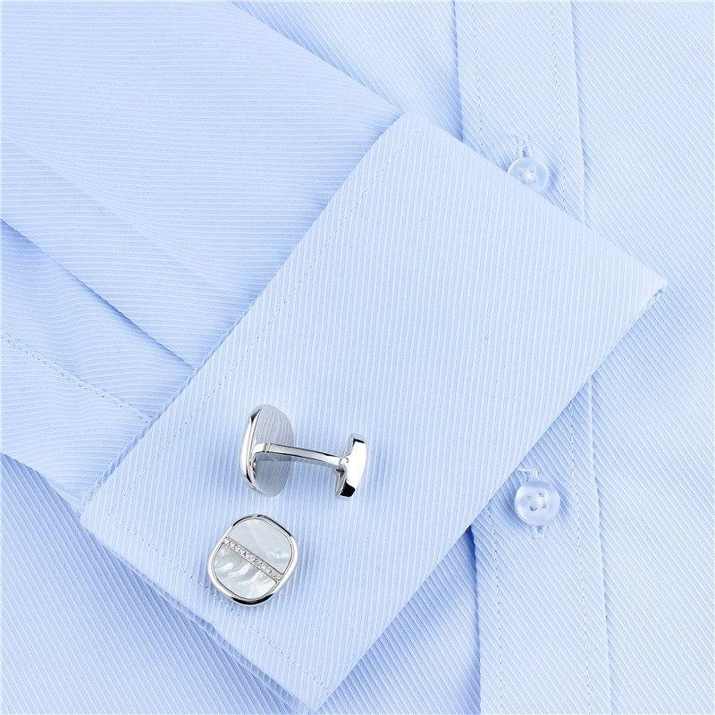 SILVER MOTHER OF PEARL CRYSTAL CUFFLINKS