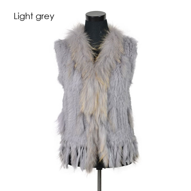 Rabbit fur vest  with raccoon fur collar