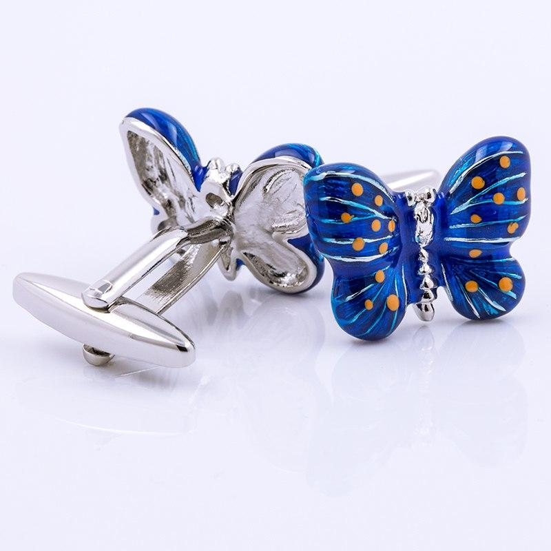 BLUE BUTTERFLY SILVER CUFFLINKS