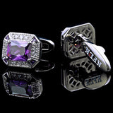 Purple Crystal Silver Cufflinks