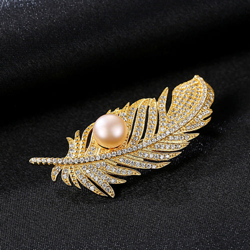 Natural Pearl Gold 925 Sterling SilverPave Feather Brooch