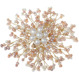 Handmade Natural White Pink Freshwater Pearl Brooch