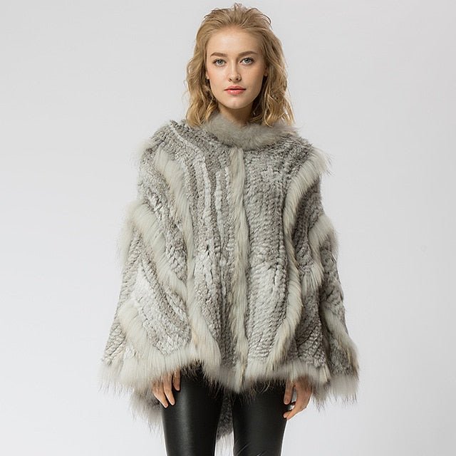 Knitted rabbit & raccoon Fur Shawl